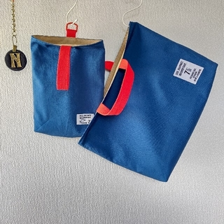 再販☆セルリアンブルー×赤 レッスンバッグ 上履き入れ(バッグ/レッスンバッグ)