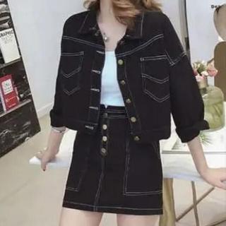 ほぼ未使用♡デニムセットアップ♡ 韓国 ジャケット 白 トップス付き♡