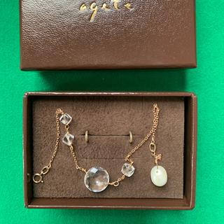 アガット(agete)のagete ブレスレット 18K ホワイトトパーズ 天然真珠(ブレスレット/バングル)
