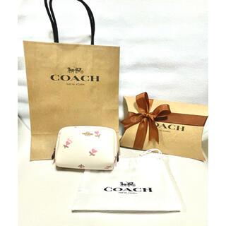 コーチ(COACH)の正規品♡新品未使用 COACH コーチ ハート 花柄 化粧ポーチ 白 ピンク(ポーチ)