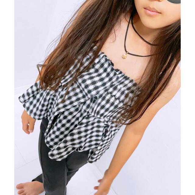 韓国子供服 キッズ チェック柄 トップス キッズ/ベビー/マタニティのキッズ服女の子用(90cm~)(Tシャツ/カットソー)の商品写真