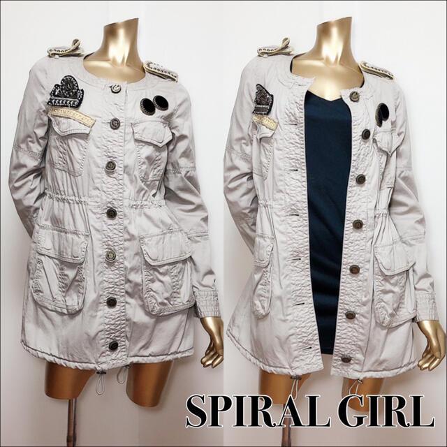 SPIRAL GIRL(スパイラルガール)のSPIRAL GIRL ノーカラー ミリタリージャケット*マウジー SLY レディースのジャケット/アウター(ミリタリージャケット)の商品写真