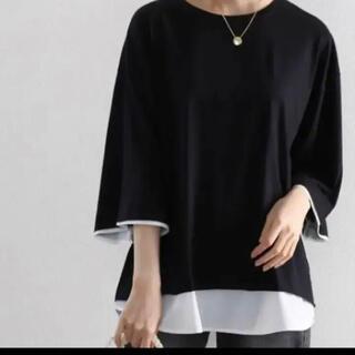 tシャツ Tシャツ レイヤード風 ミドル丈・無地クルーネックTシャツ重