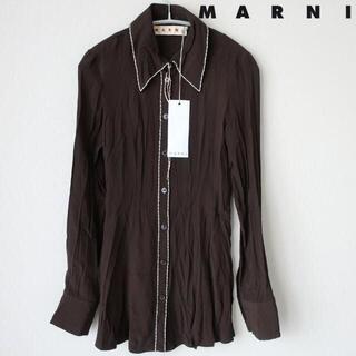 マルニ(Marni)の新品 MARNI デコレーションステッチ シルク混 シャツ ブラウス 茶 36(シャツ/ブラウス(長袖/七分))