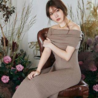 snidel - herlipto Off shoulder Ribbed Knit Dress