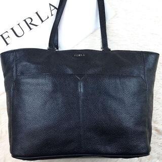 Furla - 【美品】 フルラ トートバッグ A4収納 肩掛け ラムレザー 黒 大容量