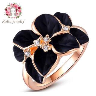天空の聖花 スワロフスキー ジェム 黒い花 クリスタルリング 指輪