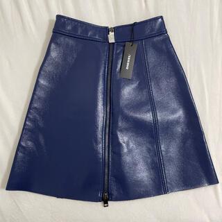 ディーゼル(DIESEL)の新品タグ付き ディーゼルひざ丈レザースカート(ひざ丈スカート)