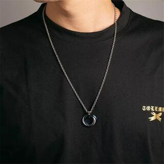 メンズ・メタルリングネックレス ブルー 50cm