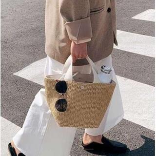 新品♪ 編み込み かごバッグ トートバッグ ナチュラル シンプル 白