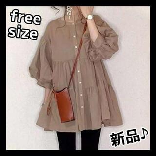 ⭐️トレンド⭐️ ペプラム フレア ブラウス シャツ 体型カバー パフ袖