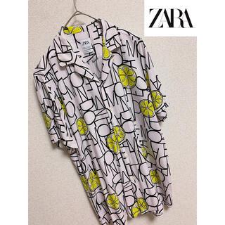 ZARA - 【ZARA】ザラ 総柄シャツ 半袖 レモン柄 レーヨン オープンカラー 開襟