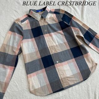 バーバリーブルーレーベル(BURBERRY BLUE LABEL)のブルーレーベル クレストブリッジ チェック シャツ ブラウス 36 リネン  麻(シャツ/ブラウス(長袖/七分))