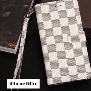 チェック柄 手帳型 iPhoneケース (iPhone11Pro ホワイト) (iPhoneケース)