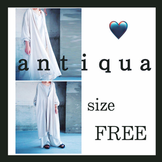 アンティカ(antiqua)のアンティカ コットンリネン ロングカーディガン ロングジャケット ベージュ 羽織(カーディガン)