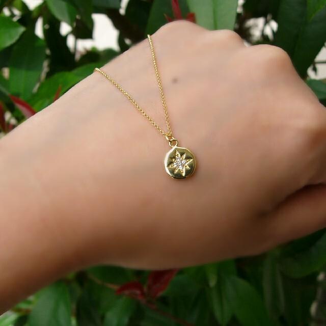 【16kgp】 星 コイン ネックレス キュービック ジルコニア レディースのアクセサリー(ネックレス)の商品写真