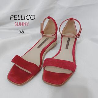 PELLICO - PELLICO SUNNY ペリーコサニー ウェッジソール 赤サンダル 36