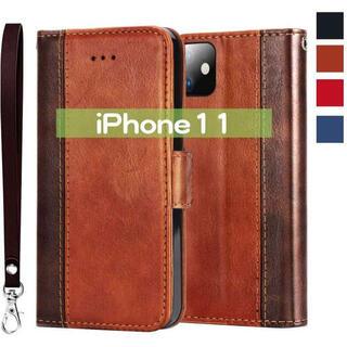 手帳型 iPhone11 レザー 茶 ケース カバー バンパー 保護(iPhoneケース)