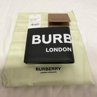 バーバリー(BURBERRY)のBURBERRY  black LOGO PRINTED LEATHER (折り財布)