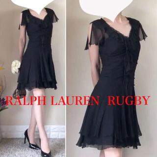 ラルフローレン(Ralph Lauren)の美品!ラルフローレン シルク100% シフォン ワンピース ドレス 黒 4 S(ひざ丈ワンピース)