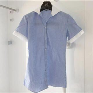 アオキ(AOKI)のレディース半袖シャツストライプシャツ7号ブラウス(シャツ/ブラウス(半袖/袖なし))