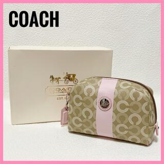 コーチ(COACH)の美品✨COACH コーチ ポーチ バニティ オプアート PVC ベージュ ピンク(ポーチ)