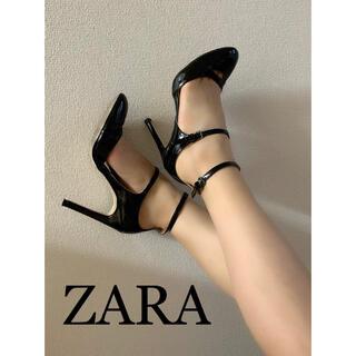 ザラ(ZARA)のZARA ダブルストラップラウンドトゥハイヒール 24.0(ハイヒール/パンプス)