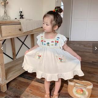 ✳ 韓国子供服 ✳  刺繍 フラワー ガーリー ワンピース ナチュラル(ワンピース)
