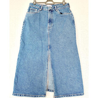 【美品】ZARAスリットデニムスカート 丈73センチひざ下丈
