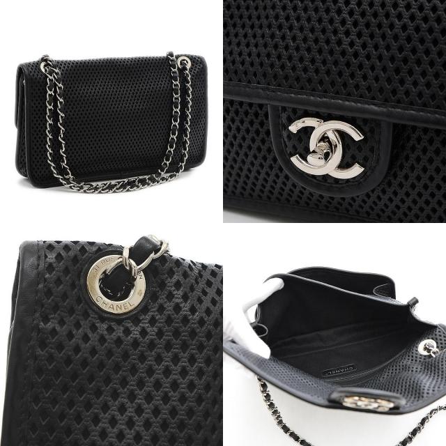 CHANEL(シャネル)のシャネル フレンチリビエラ パンチングメッシュ Wチェーンショルダーバッグ ブラ レディースのバッグ(ショルダーバッグ)の商品写真