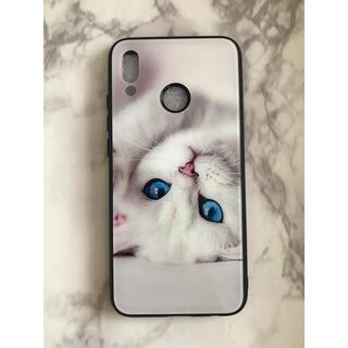 ファーウェイ(HUAWEI)の可愛いねこちゃん☆背面9Hガラスケース HUAWEI P20Lite 白猫(Androidケース)