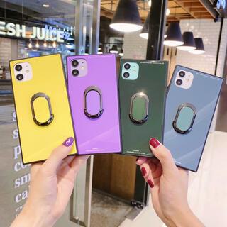 iphoneX iphoneXS ケース リング付き スクエア ミラー リング(iPhoneケース)