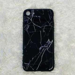iPhone7/8 ブラック 大理石調iPhoneケース マーブル TPU(iPhoneケース)