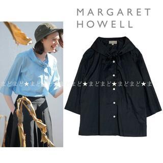 MARGARET HOWELL - マーガレットハウエル SHEER COTTON ネッカチーフブラウス 2 黒
