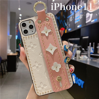iPhone11pro  花柄 iPhoneケース ピンクモノグラム 韓国 (iPhoneケース)