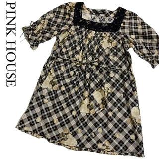 ピンクハウス(PINK HOUSE)の【大人気☆】ピンクハウス 花柄 レース 刺繍 リボン チュニック ブラウス(チュニック)