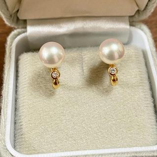 k18 本真珠8.5㎜玉 ダイヤ付きイヤリング(イヤリング)