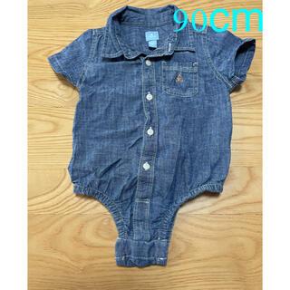 ベビーギャップ(babyGAP)のbabyGap デニムシャツ風 ロンパース 半袖 size90(その他)