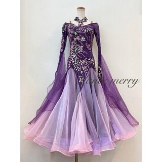 新品大特価 社交ダンス デモ ドレス 紫 タンゴ マーメイド パーティ 8130