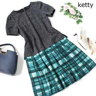 ケティ(ketty)のケティ★ドッキングワンピース 半袖 グレー×グリーン チェック 1(S)(ひざ丈ワンピース)