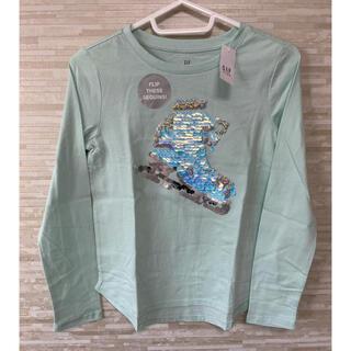 ギャップキッズ(GAP Kids)の「150CM」GAP ギャップ インタラクティブグラフィック長袖シャツ 緑(Tシャツ/カットソー)
