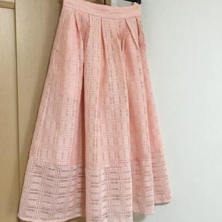 ドゥロワー(Drawer)のオブリ  OBLI ピンク レーススカート(ひざ丈スカート)