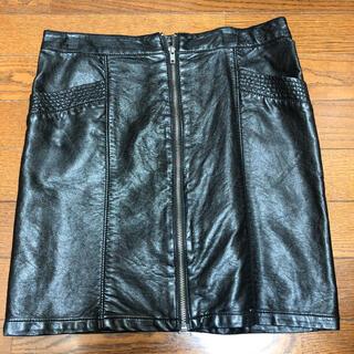 エイチアンドエム(H&M)のレザースカート(ひざ丈スカート)