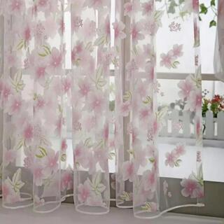 花柄 桜 さくら 2枚セット レースカーテン 春 花 植物柄 ピンク 色(レースカーテン)