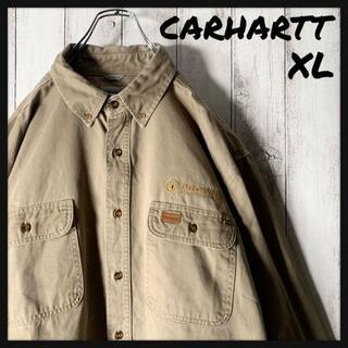 カーハート(carhartt)の【美品 海外企画 XL】カーハート 刺繍 レザータグ ワークシャツ 3本ステッチ(シャツ)