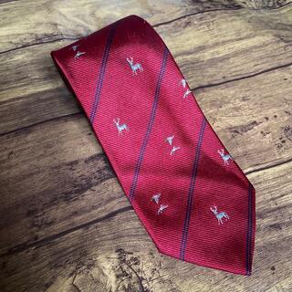 バーバリー(BURBERRY)のBURBERRYS ストライプネクタイ 濃赤 オシャレ 鹿 鳥柄 高級ブランド(ネクタイ)