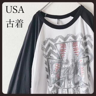【 USA古着】THE5050  ラグラン 7分袖 カットソー プリント XL (Tシャツ/カットソー(七分/長袖))