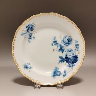 マイセン(MEISSEN)のマイセン  波の金彩 青色の単色花絵 デザートプレート(食器)