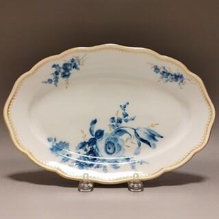 マイセン(MEISSEN)のマイセン  波の金彩 青色の単色花絵 カマイユブルー オーバルプレート(食器)