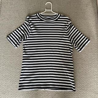【未使用に近い】'u 半袖シャツ 白黒ボーダー 綿100% XLサイズ